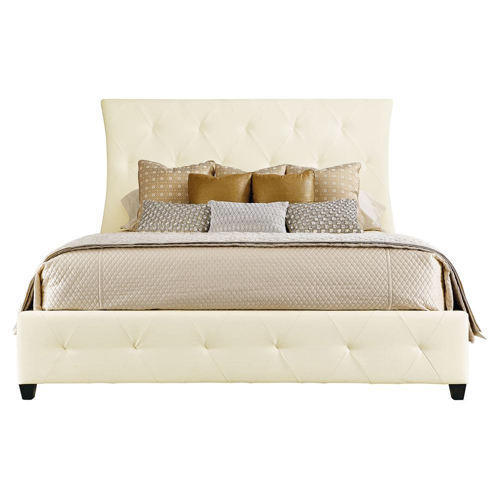 Crawford White Leather Tufted Hollywood King Bed Kathy