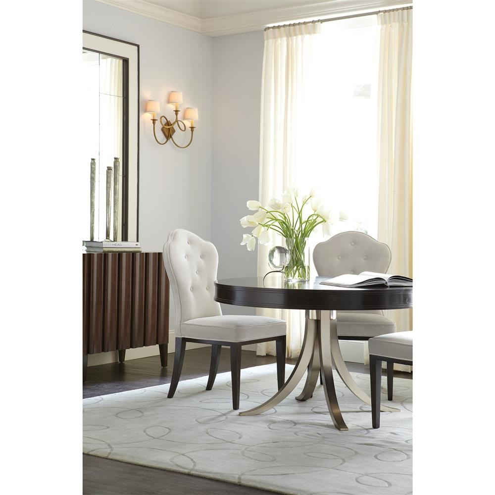 Willa Modern Nickel Black Walnut Round Dining Table ...