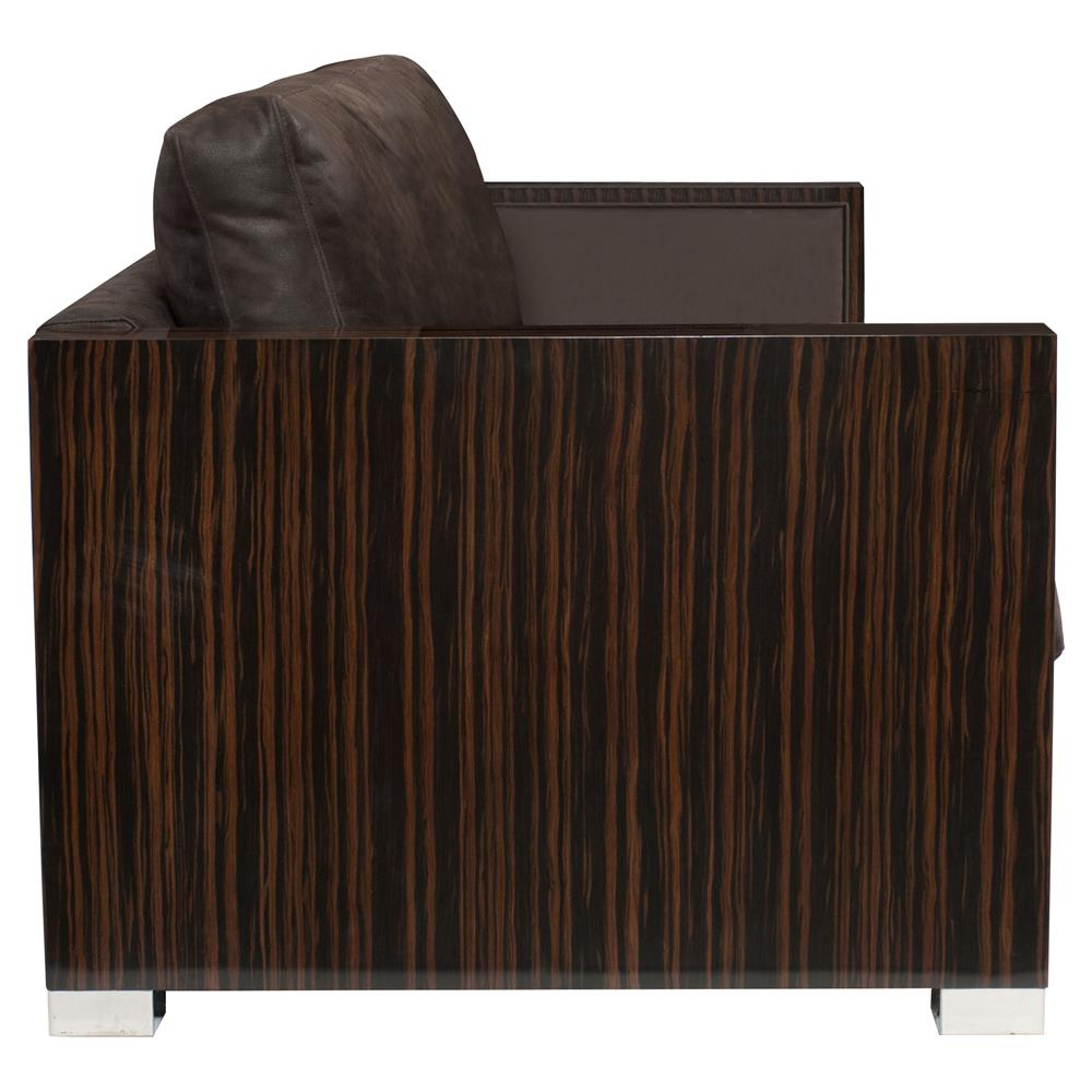 Marlon Modern Rustic Lacquered Wood Boxed Grey Leather