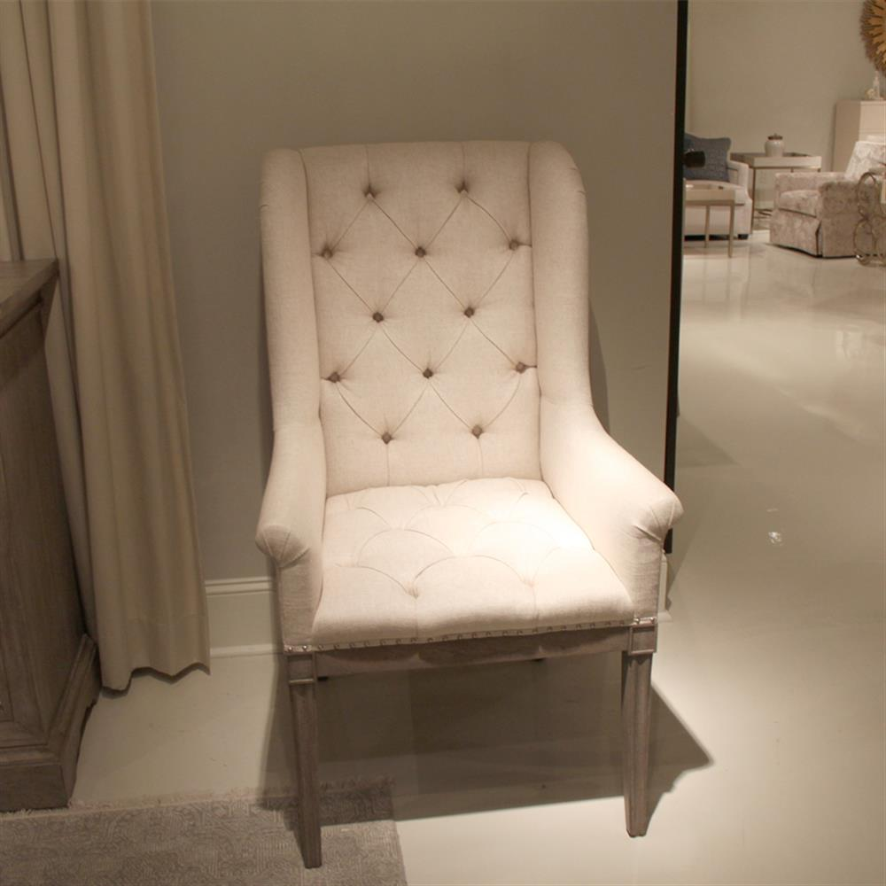 Luxe Linen Upholstered Tufted Dining Armchair: Michaela French Country Wood Upholstered Button Tufted