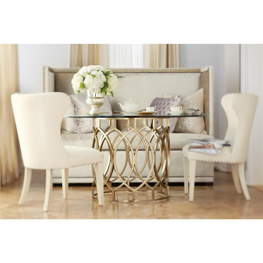 Oriana Modern Classic Gold Pedestal Glass Dining Table