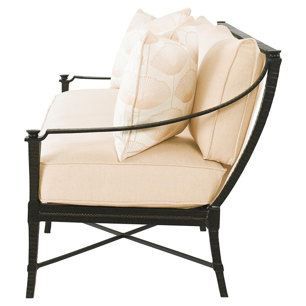 Jane Modern French Sailcloth Sand Metal Outdoor Sofa Kathy Kuo Home