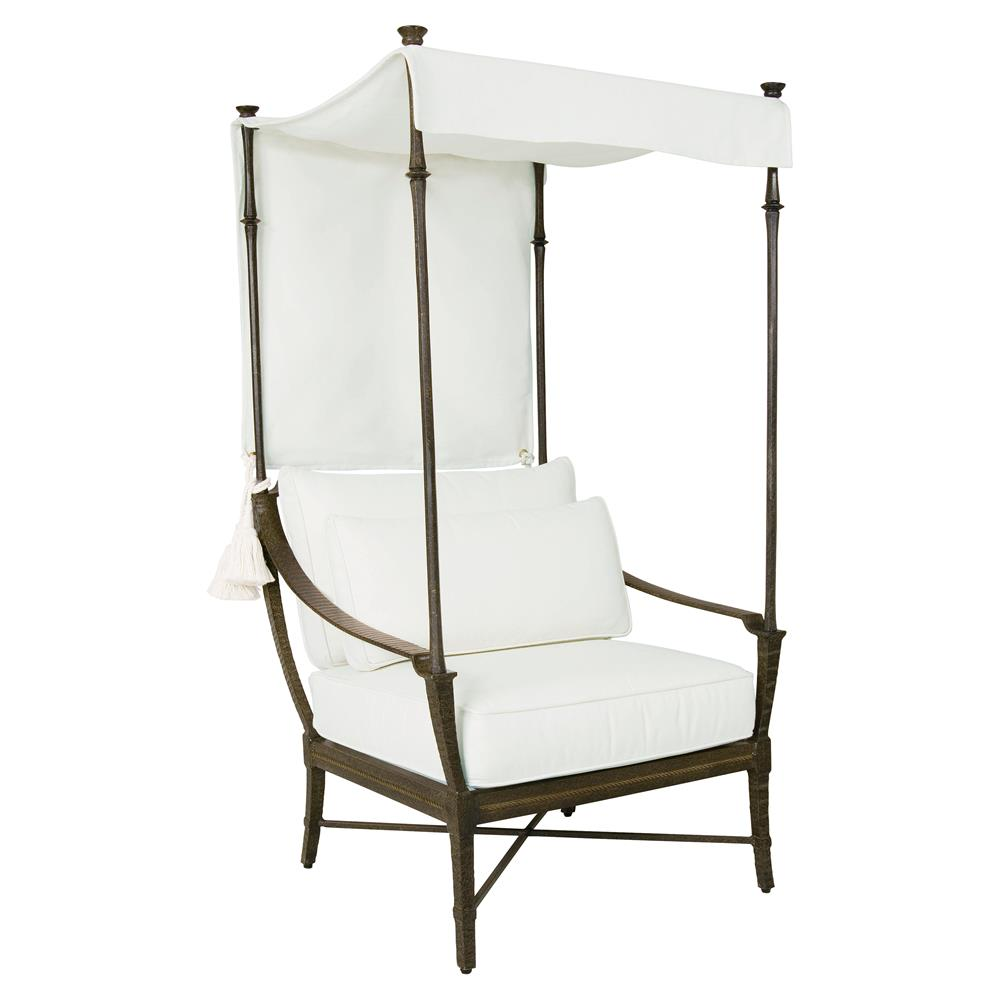 Jane Modern French White Canopy Metal Outdoor Lounge Chair
