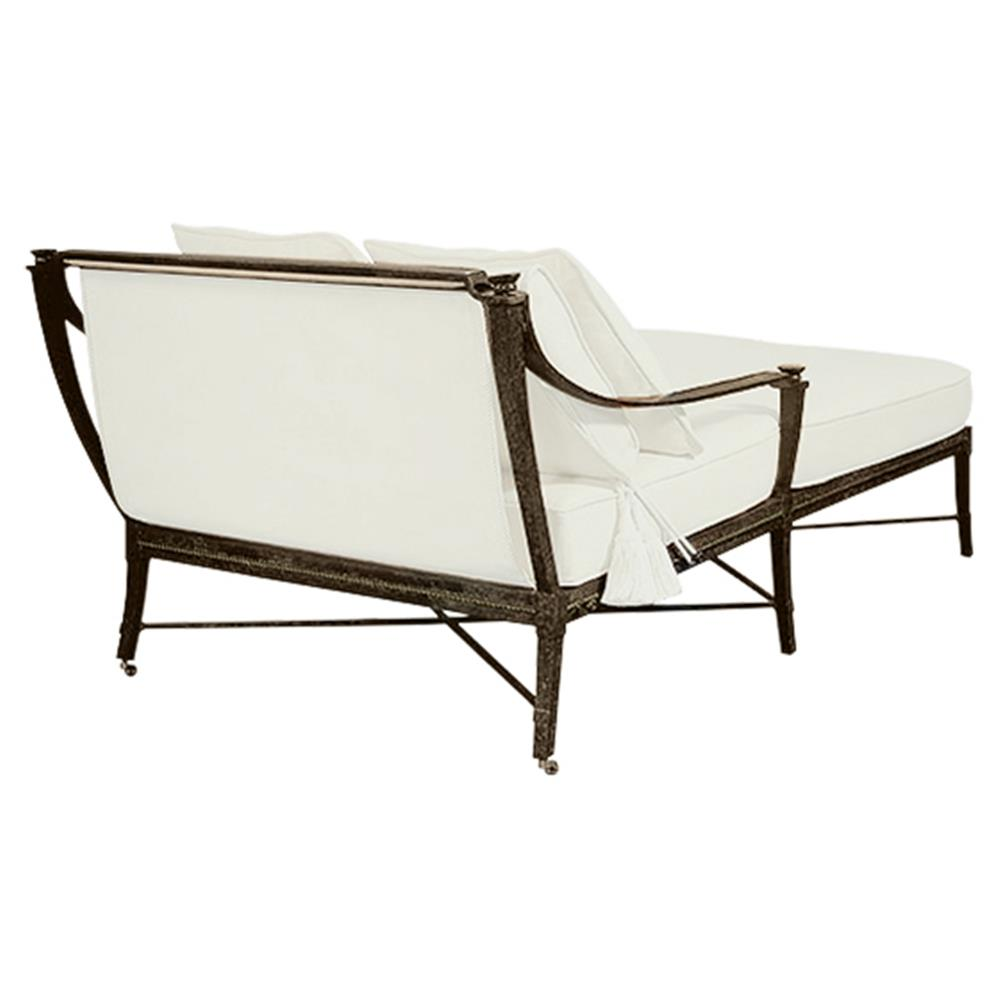 jane modern french white canopy metal outdoor double chaise kathy kuo home. Black Bedroom Furniture Sets. Home Design Ideas