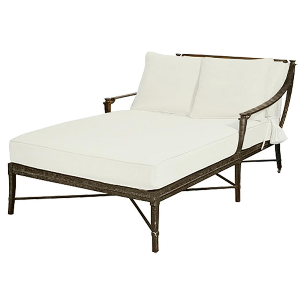 Jane Modern French White Canopy Metal Outdoor Double Chaise Kathy Kuo Home