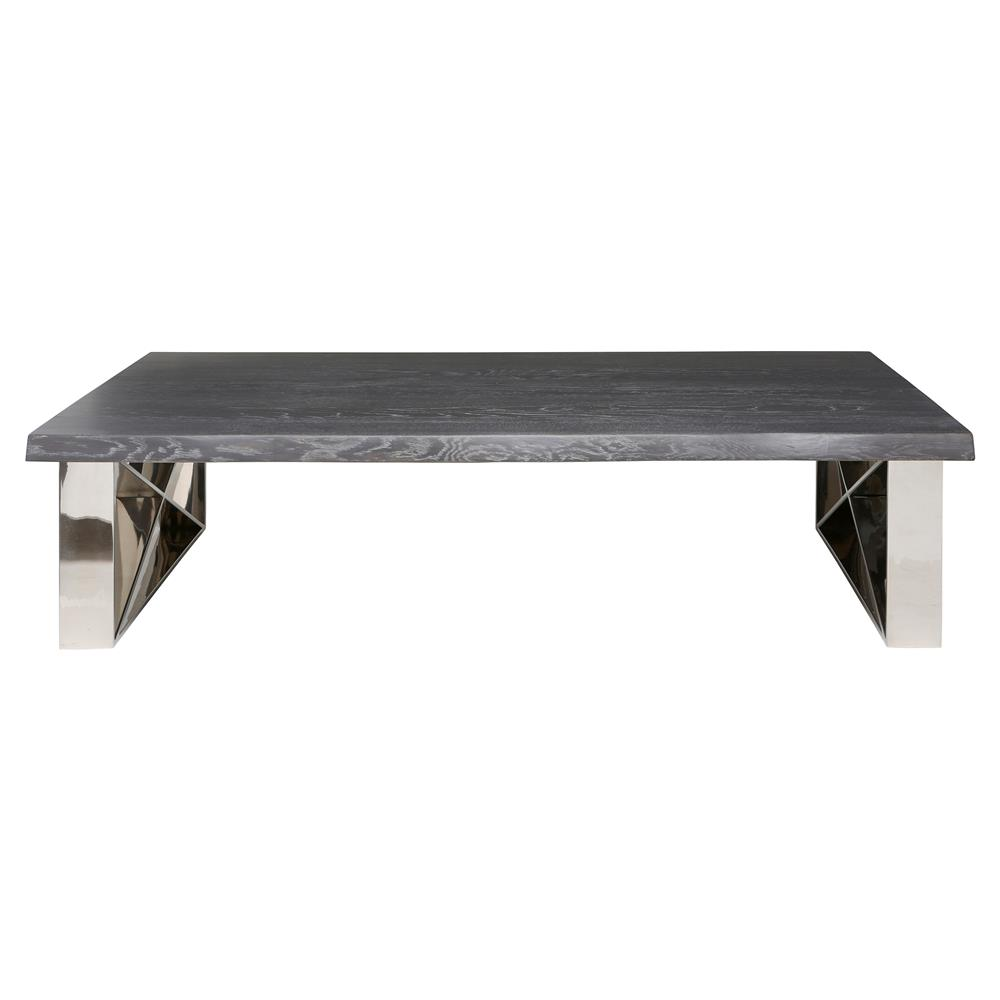 Haven industrial loft grey wood stainless steel coffee for Gray wood and metal coffee table