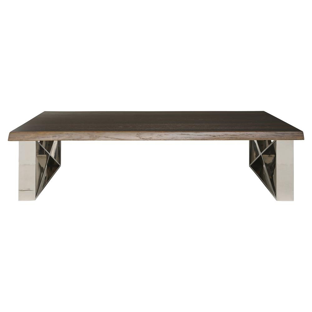 Haven Industrial Loft Brown Wood Metallic Coffee Table Kathy Kuo Home