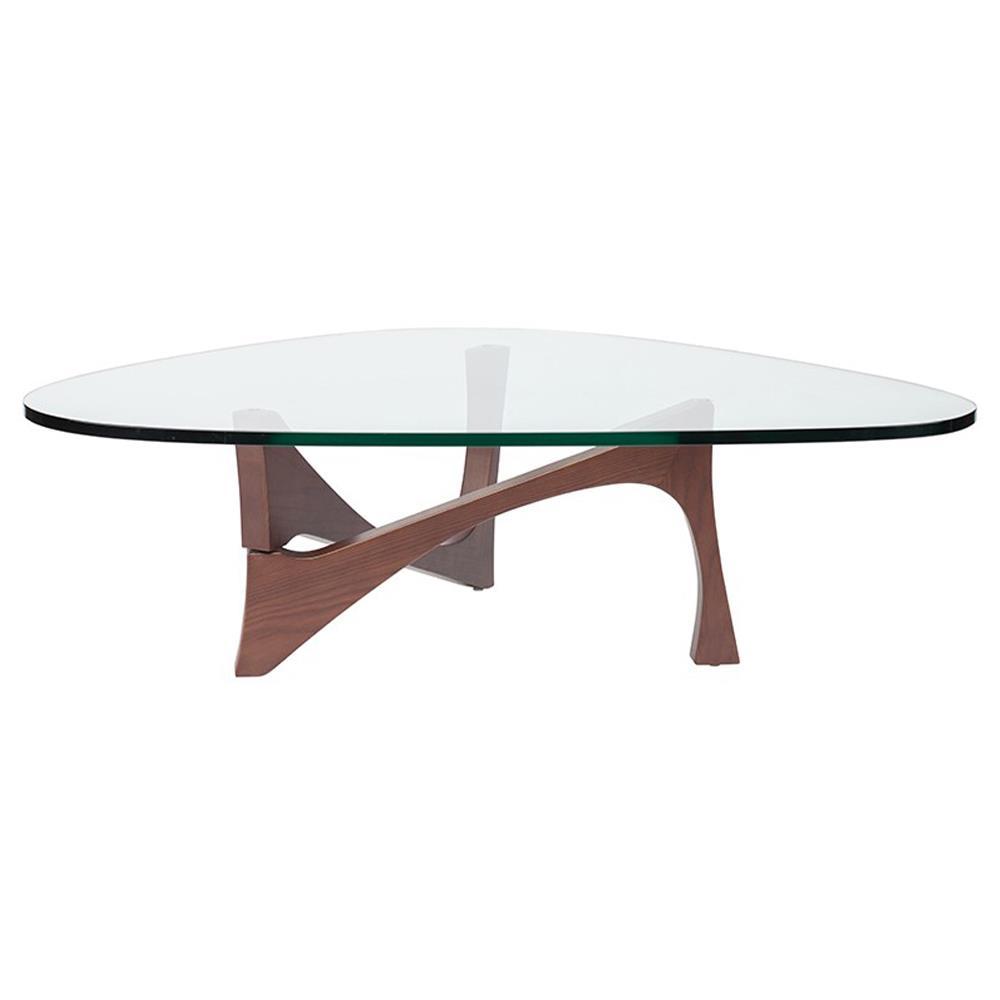 Elijah Modern Glass Walnut Wood Coffee Table