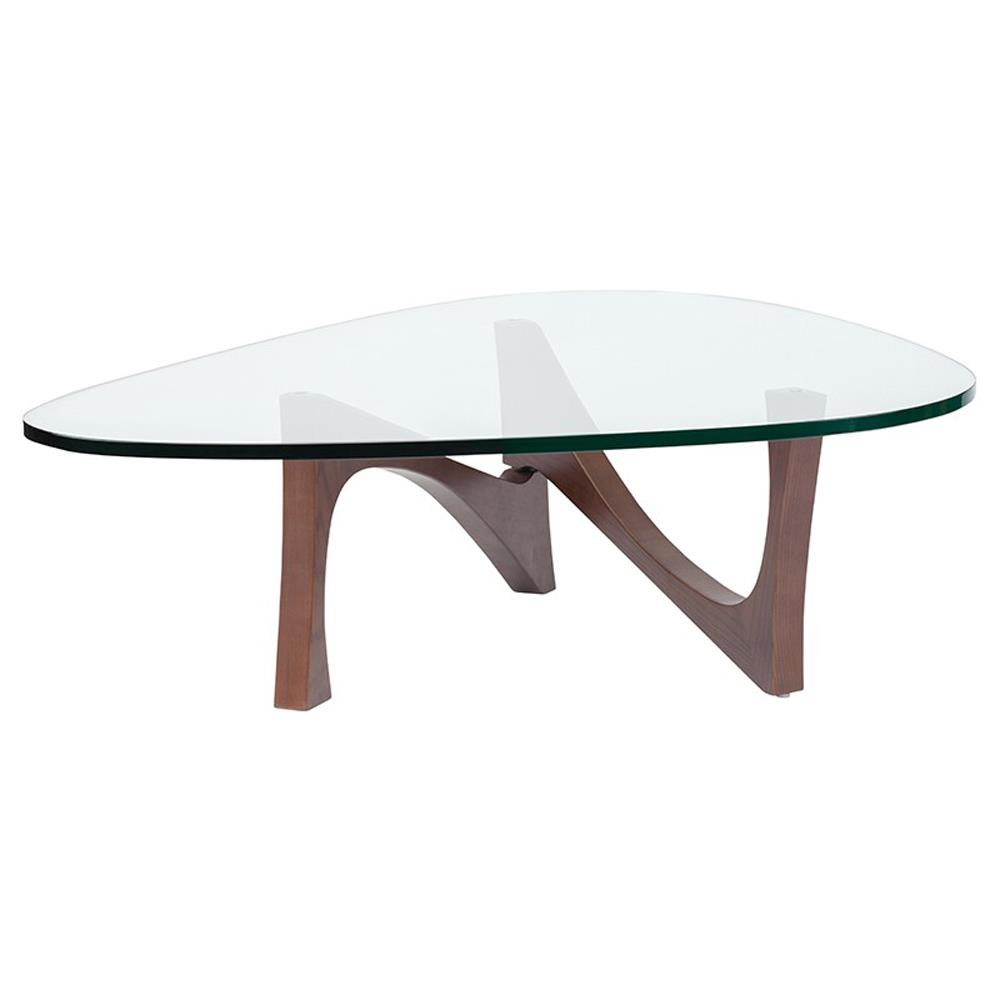 Elijah Modern Glass Walnut Wood Coffee Table Kathy Kuo Home