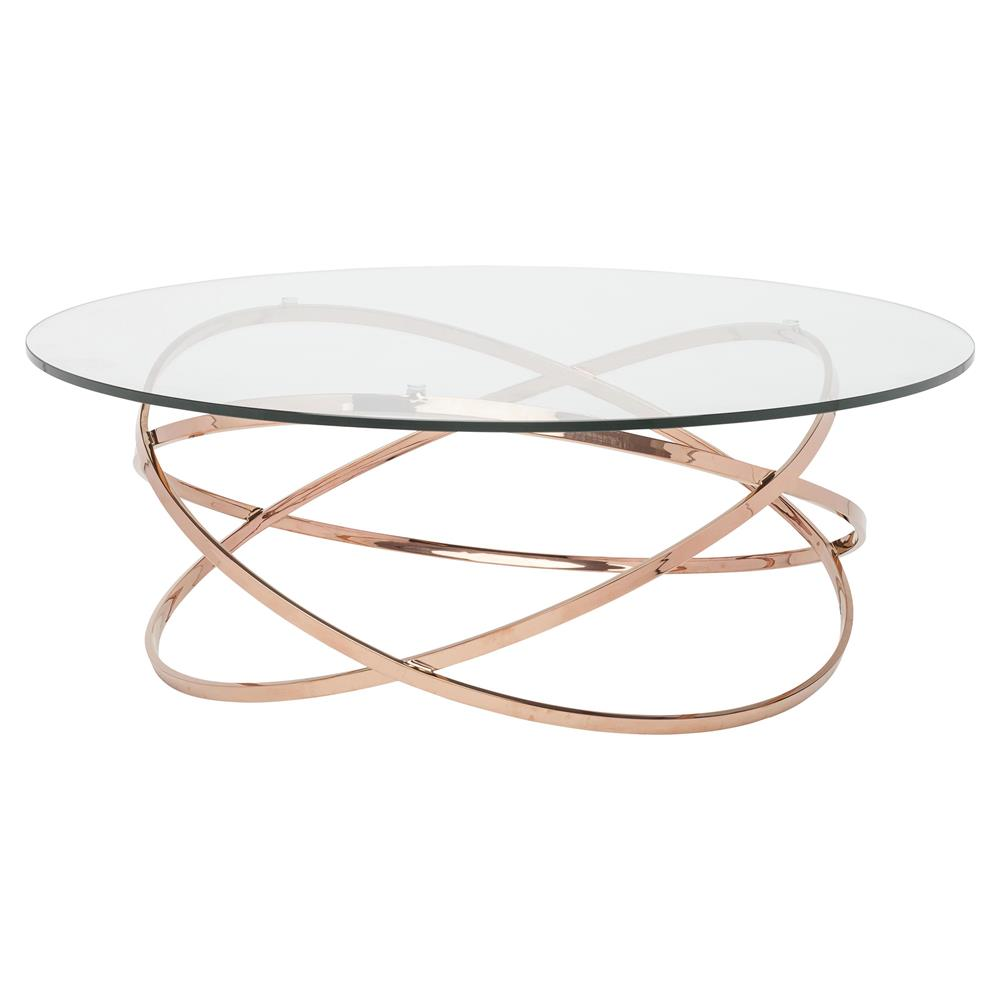 Savannah Modern Classic Rose Gold Glass Coffee Table