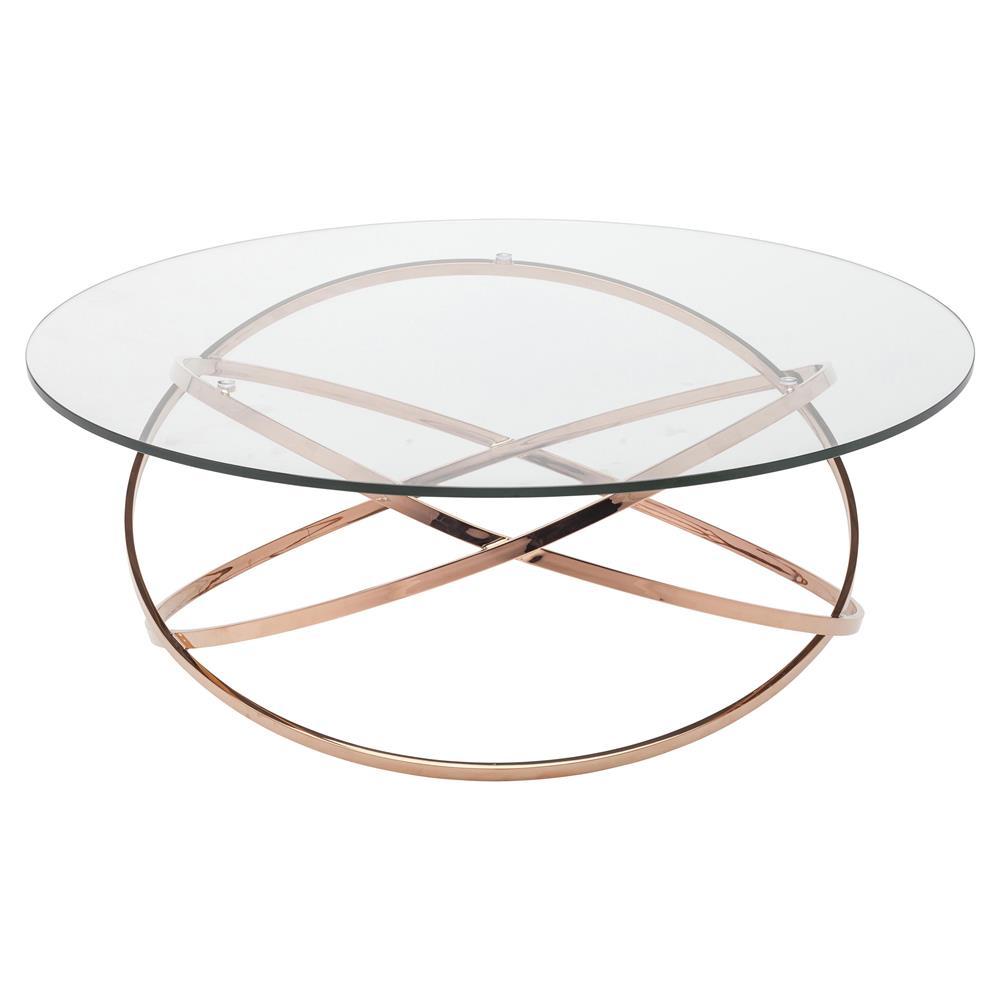 Savannah Modern Classic Rose Gold Glass Coffee Table