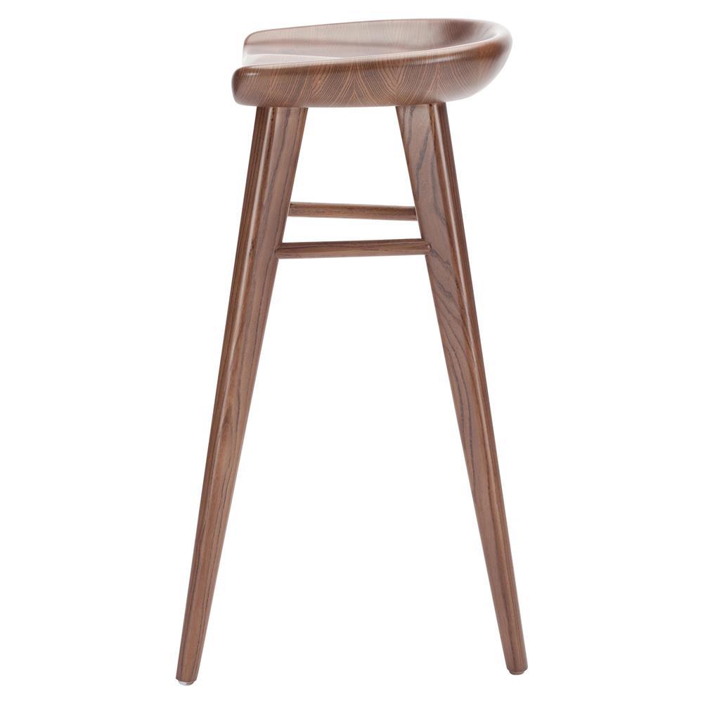 Walnut Wooden Bar Stools ~ Jacob modern classic brown walnut wood counter stool