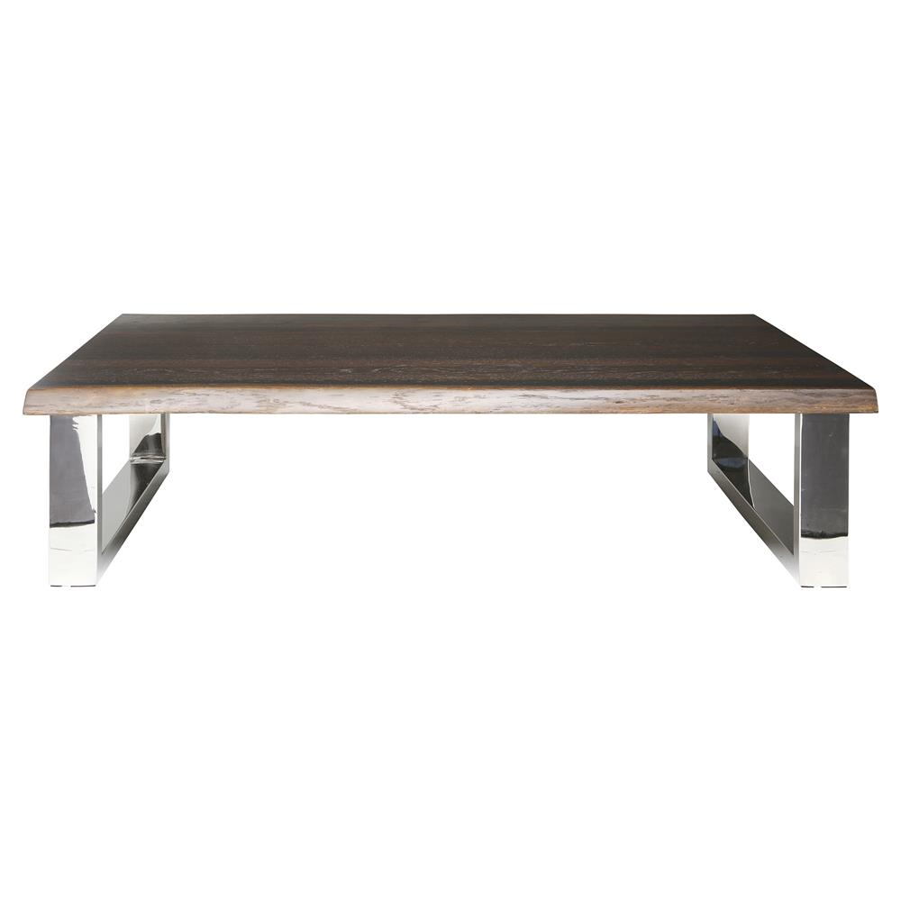 Stainless Steel Coffee Table: Zinnia Industrial Loft Brown Oak Stainless Steel Coffee Table