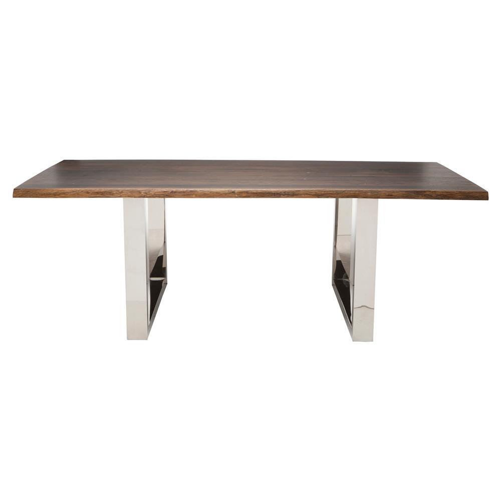 Zinnia Industrial Brown Oak Stainless Steel Dining Table 96w