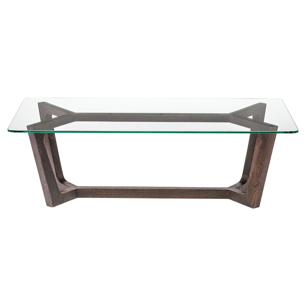 Haden Modern Brown Oak Glass Top Coffee Table Kathy Kuo Home