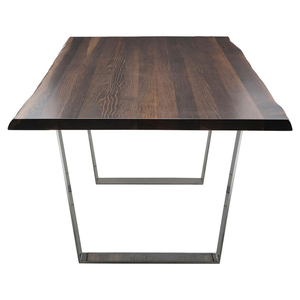 Cogsworth Industrial Brown Oak Stainless Steel Dining Table 96w Kathy Kuo Home