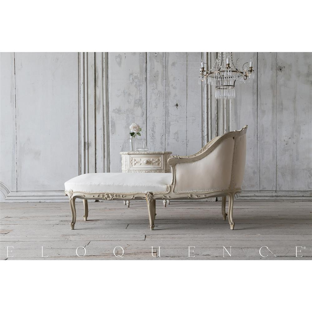 Eloquence antique french duck egg floral carved chaise for Carved chaise lounge