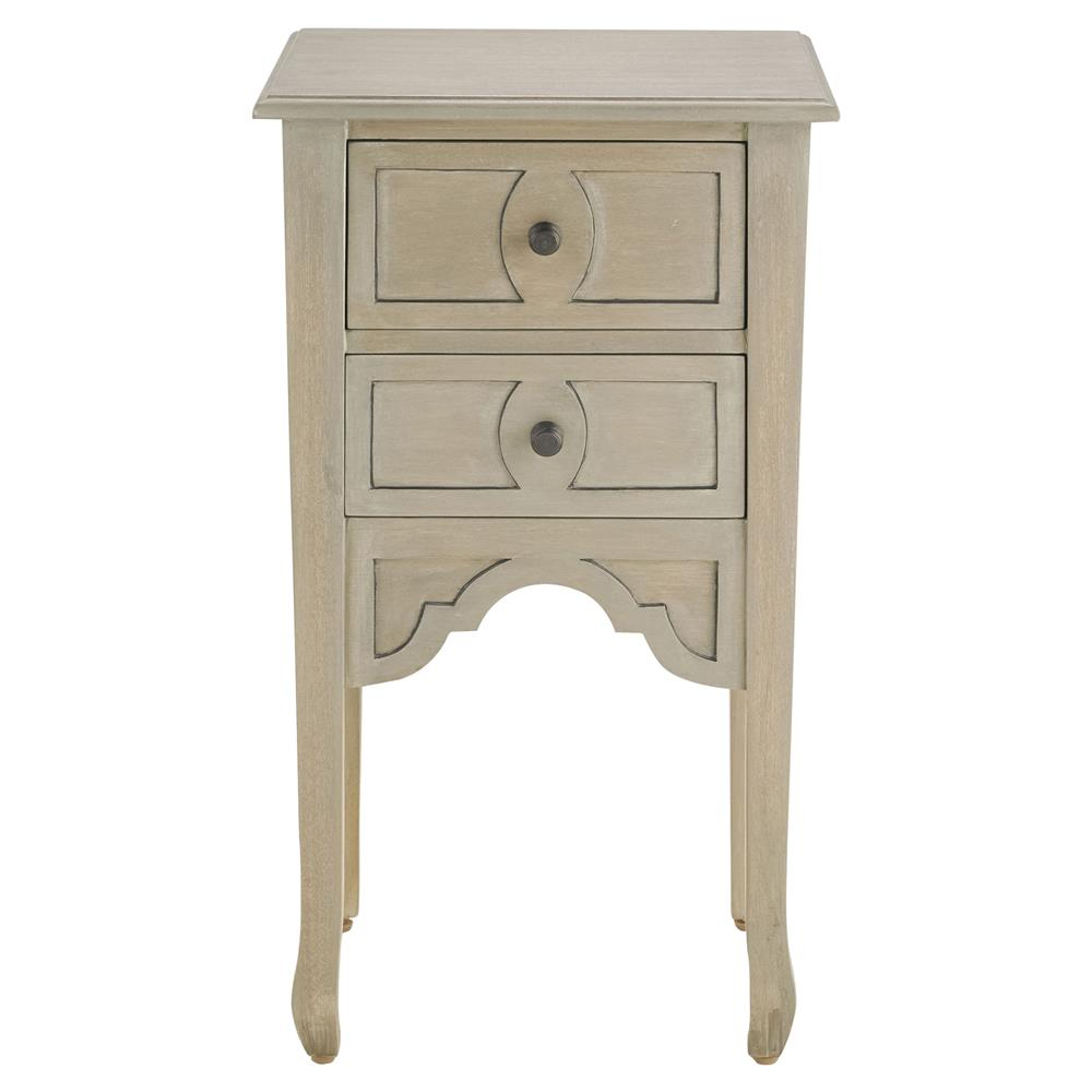 Linnea french country silver wash rustic wood nightstand for Rustic wood nightstand