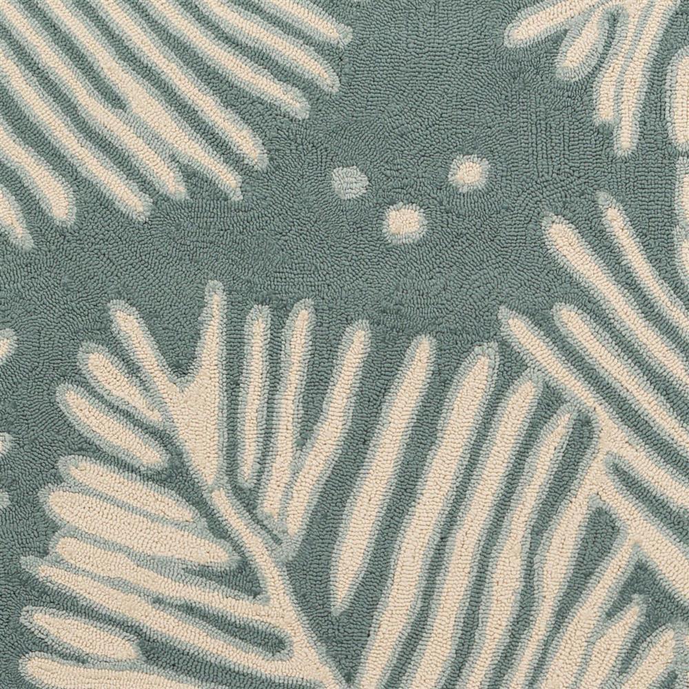 Devin Coastal Beach Denim Blue Palms Outdoor Rug 2 6x8