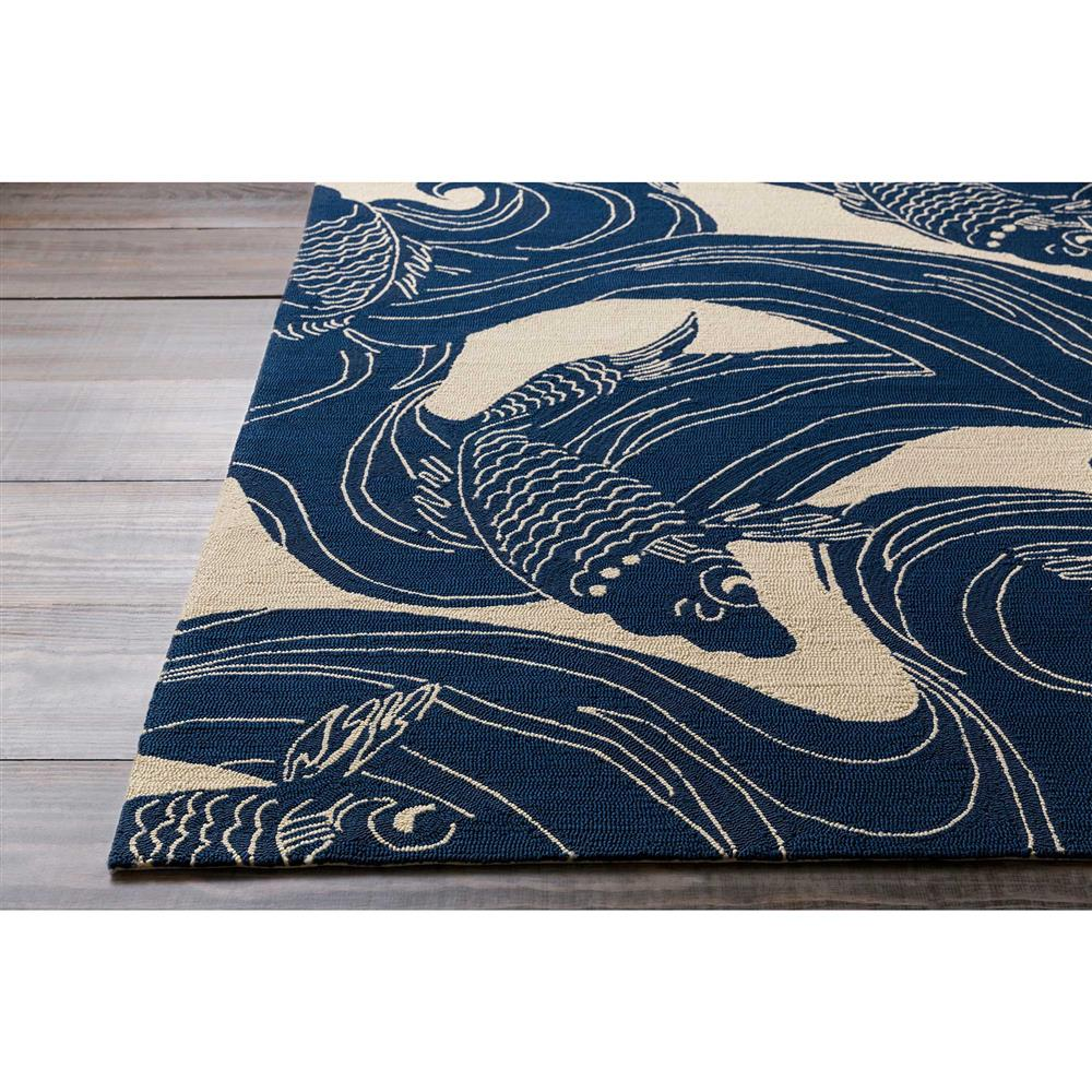 Ocean House Rug: Kana Global Coastal Blue Ocean Koi Outdoor Rug