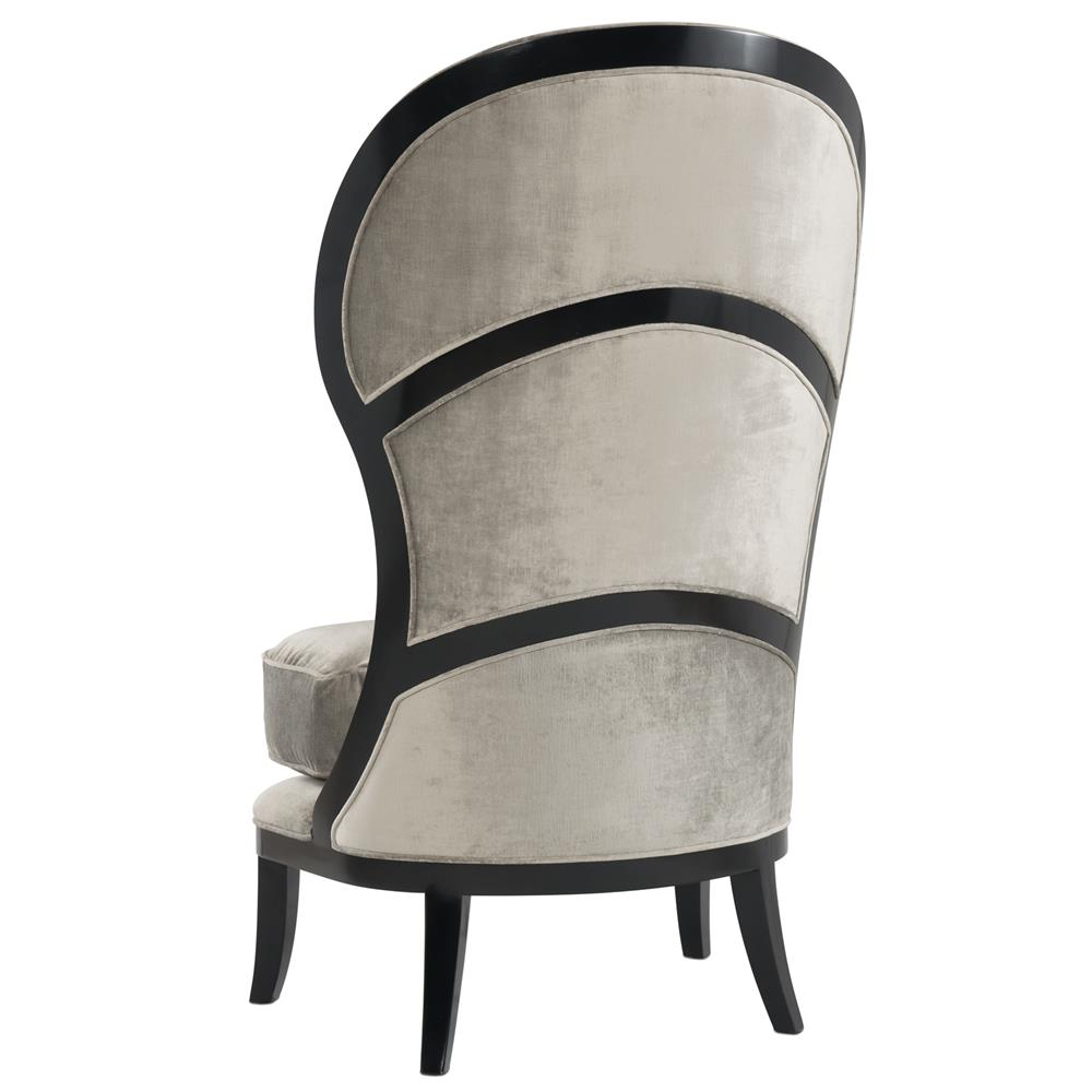 Humphrey Regency Grey Black Velvet Tall Back Living Room Chair