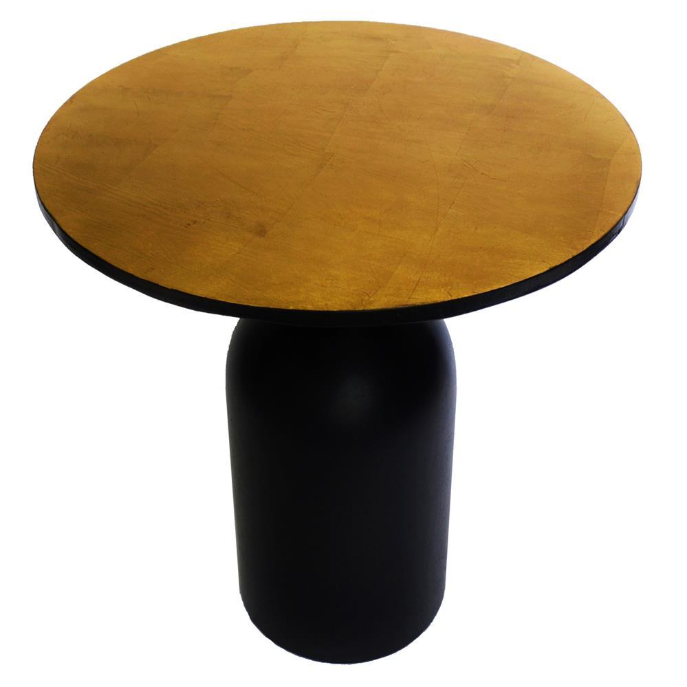 Bond regency gold leaf black round tapered side cocktail table for Black round table with leaf