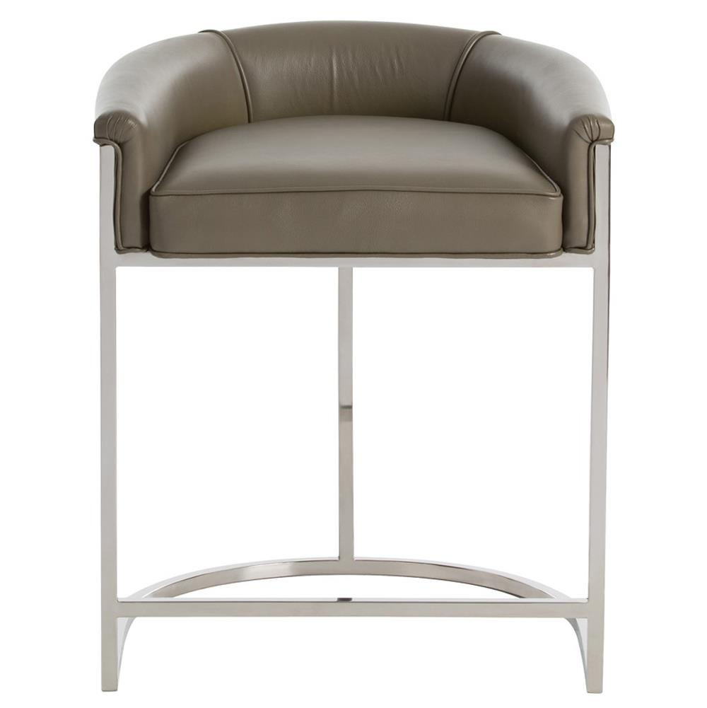 Calvin Modern Grey Leather Low Silver Counter Stool