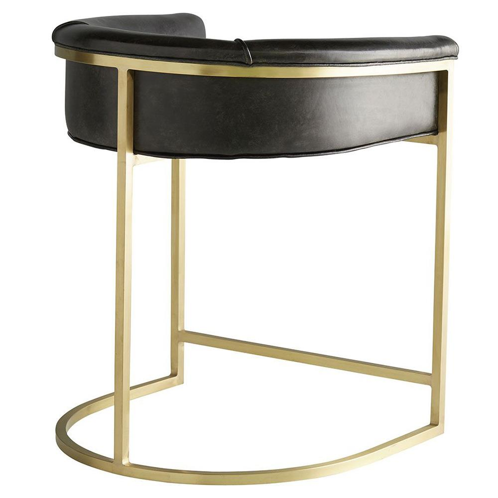 Arteriors Calvin Modern Brown Leather Low Brass Counter Stool