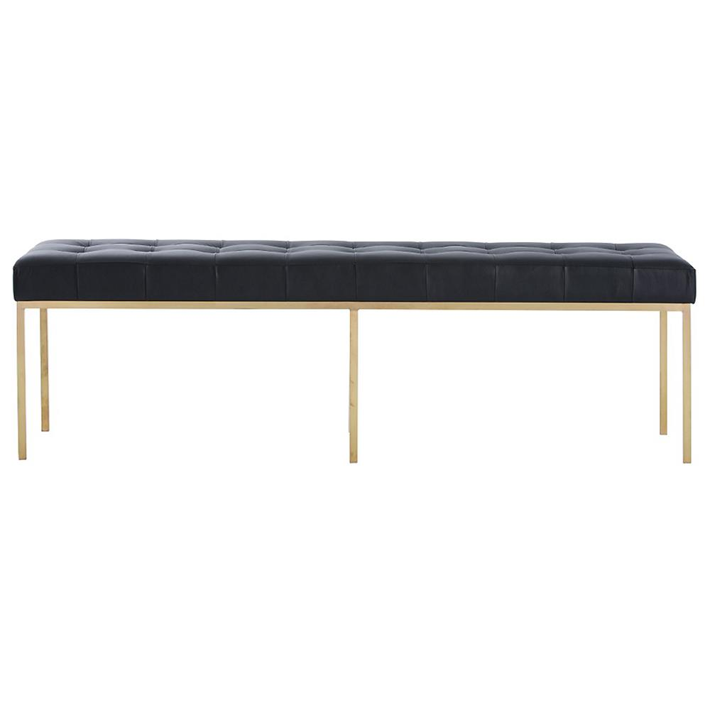 trudy regency modern black leather brass museum bench  kathy kuo home - view full size