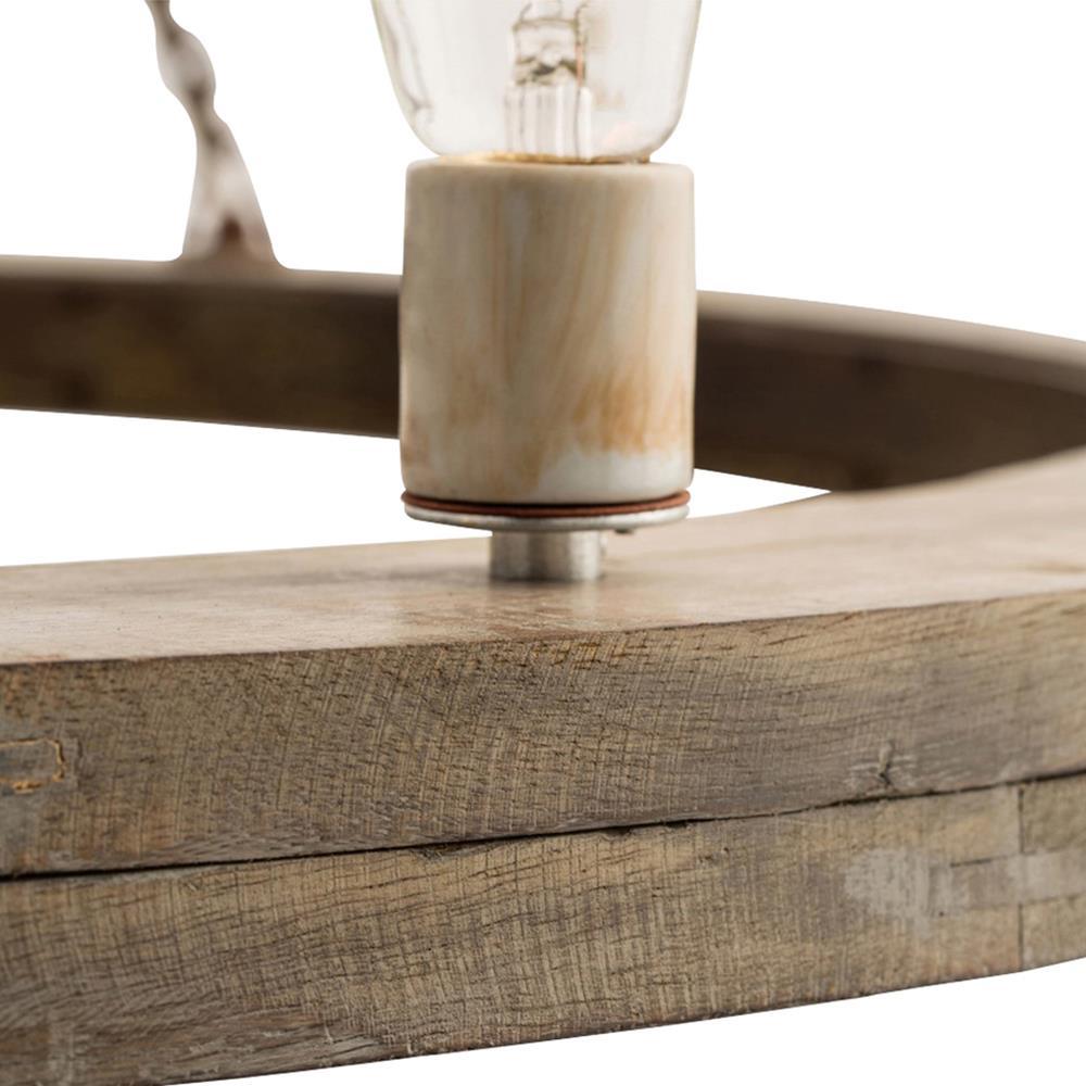 Rustic Wood Ring Dining Chandelier: Arteriors Geoffrey Industrial Loft Rustic Wood Ring Patio