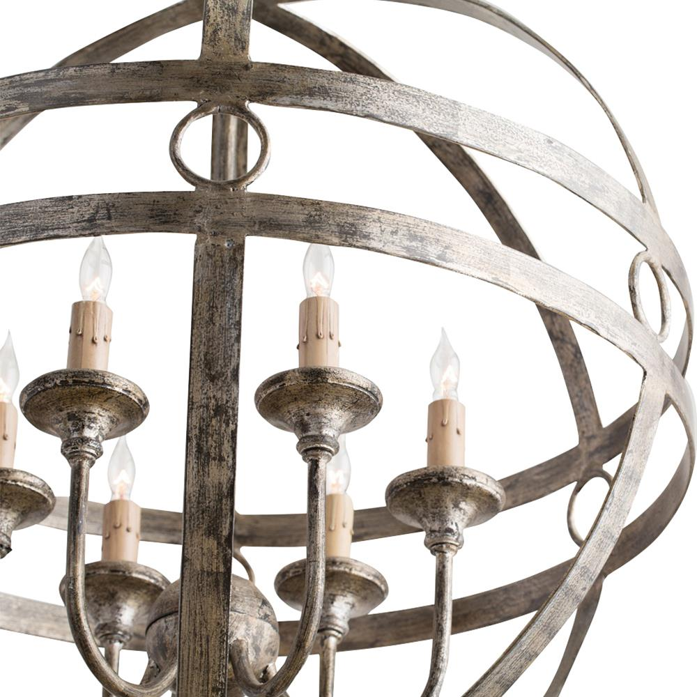 Holm Modern Rustic Silver Geometric Orb Chandelier Kathy Kuo Home