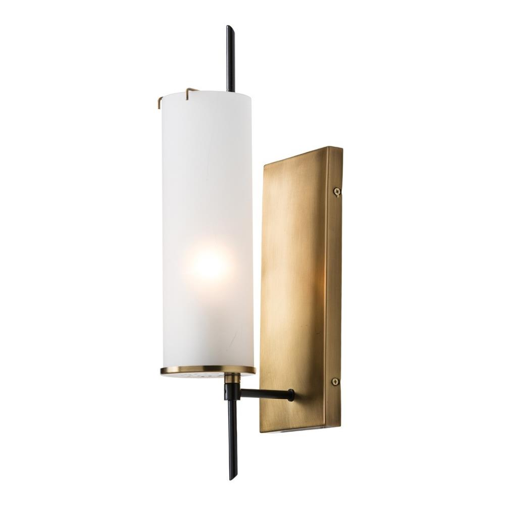 Gregor Modern Frosted Glass Antique Brass Sconce Kathy