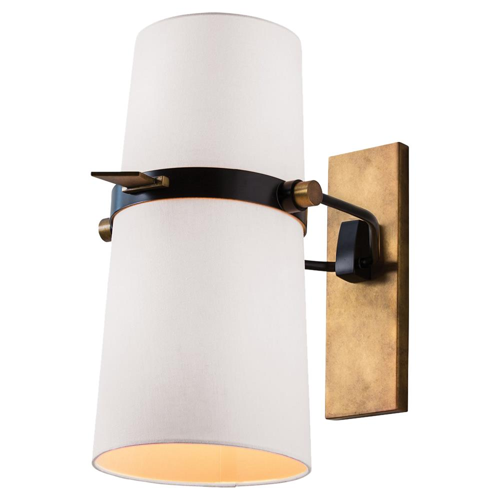 Brass Wall Sconce With Black Shade : Jackson Modern Brass White Shade Adjustable Wall Sconce Kathy Kuo Home