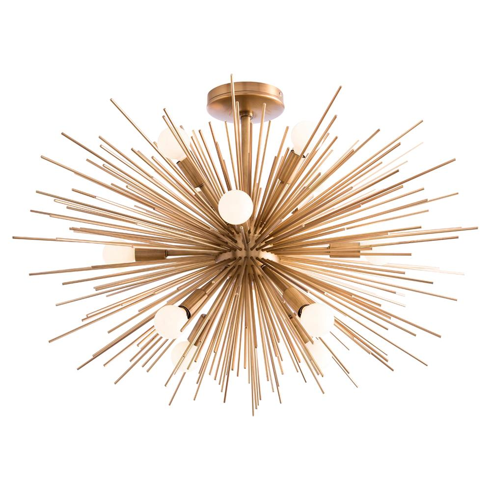 Zaza Mid Century Antique Brass Burst Short Sputnik Chandelier
