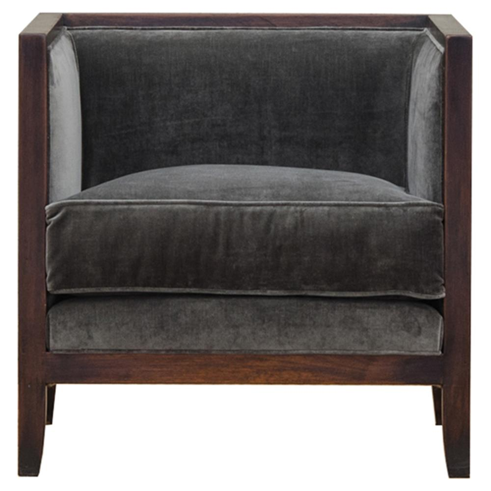 esther modern dark grey square wood living room chair