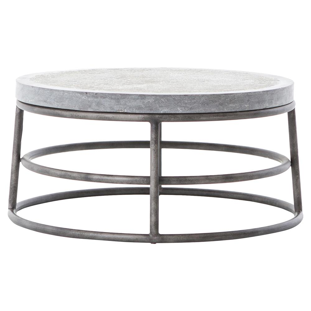 Rollins Industrial Loft Bronze Iron Coffee Table: Wilma Industrial Loft Grey Bluestone Iron Ring Coffee Table