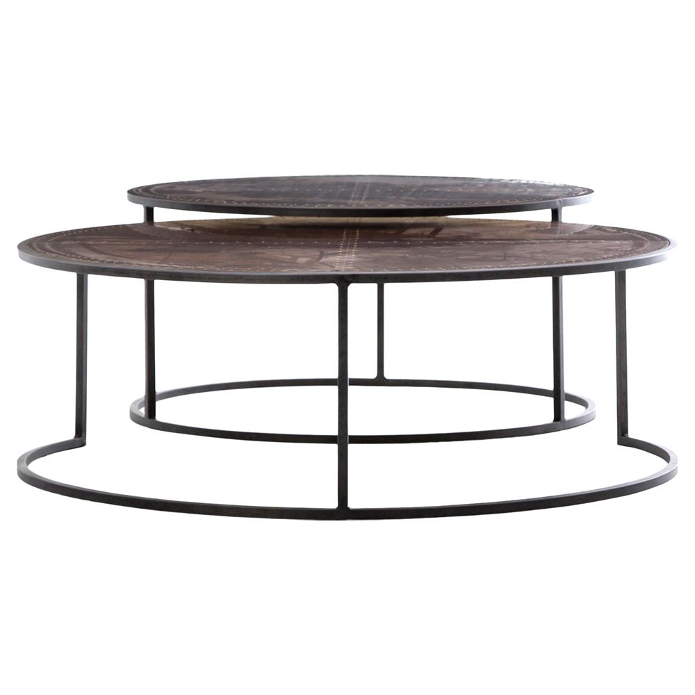 Ariel Industrial Loft Copper Studded Nesting Coffee Table Pair Kathy Kuo Home