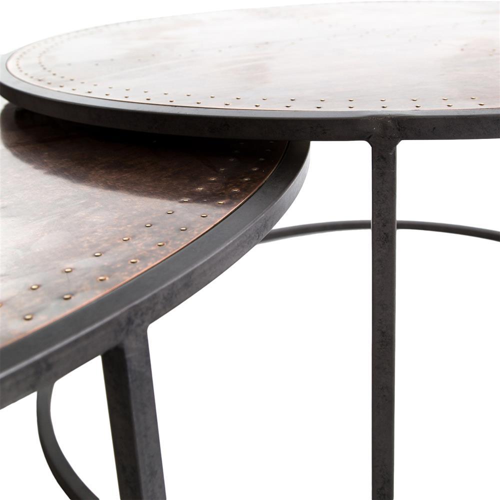 Ariel Industrial Loft Copper Studded Nesting Coffee Table Pair - Studded coffee table