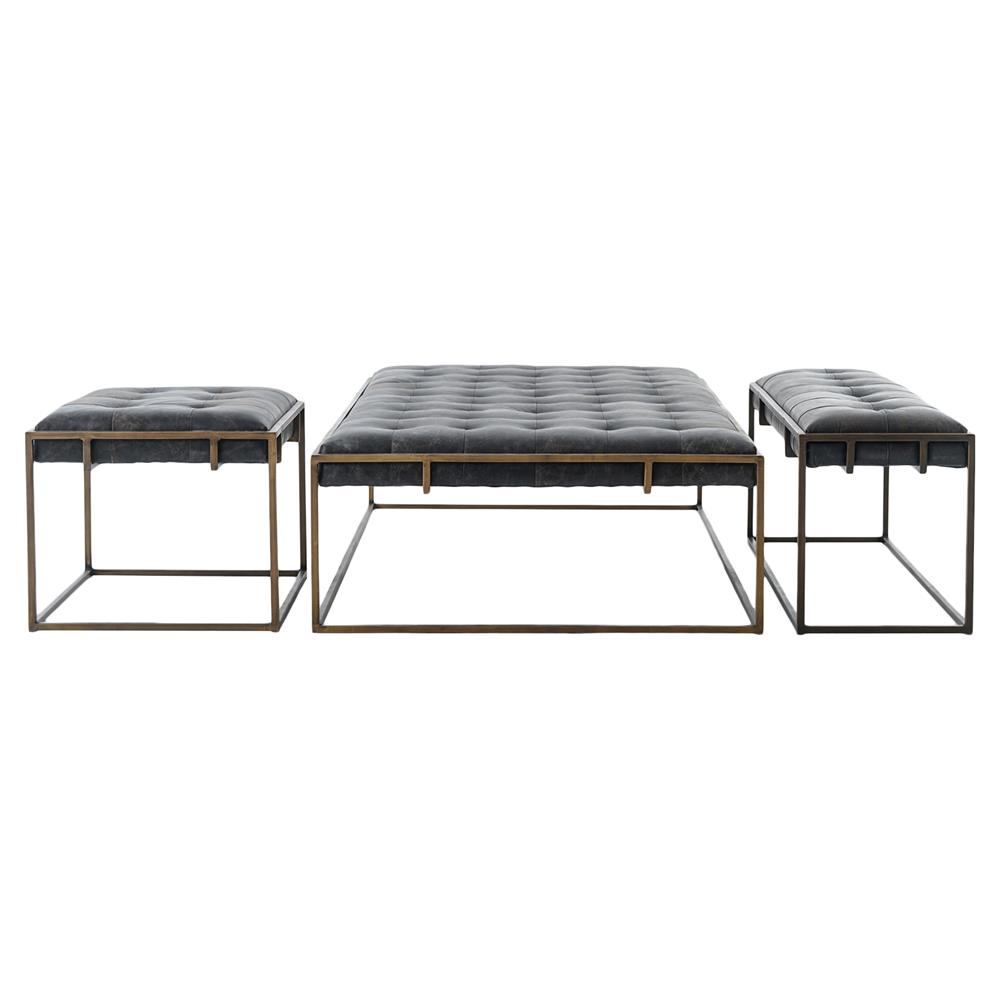 Bryson Industrial Loft Tufted Leather Brass Coffee Table