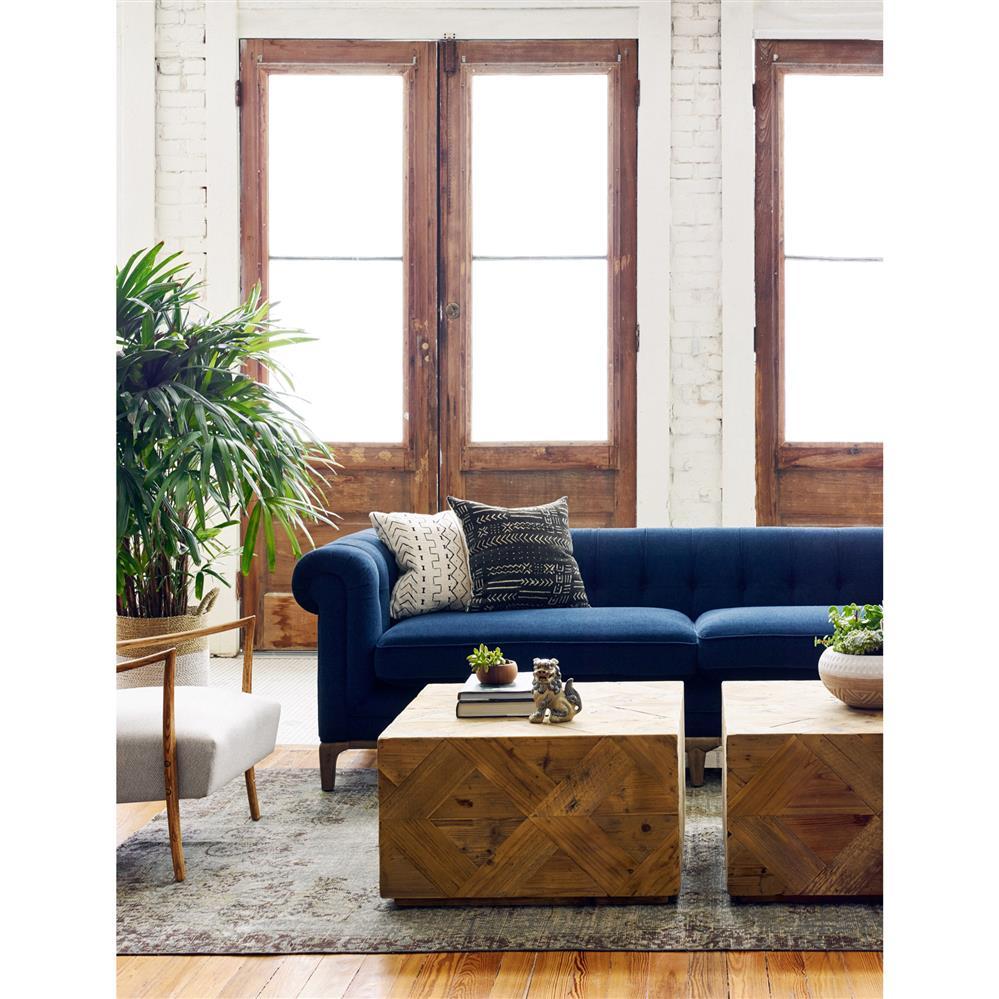 Dorian Hollywood Regency Navy Velvet Tufted Sofa Kathy
