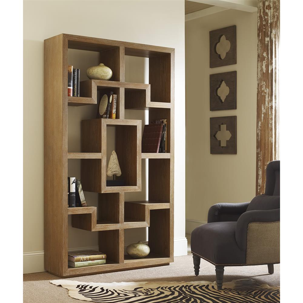 Obsie Modern Classic Geometric Limed Teak Bookcase