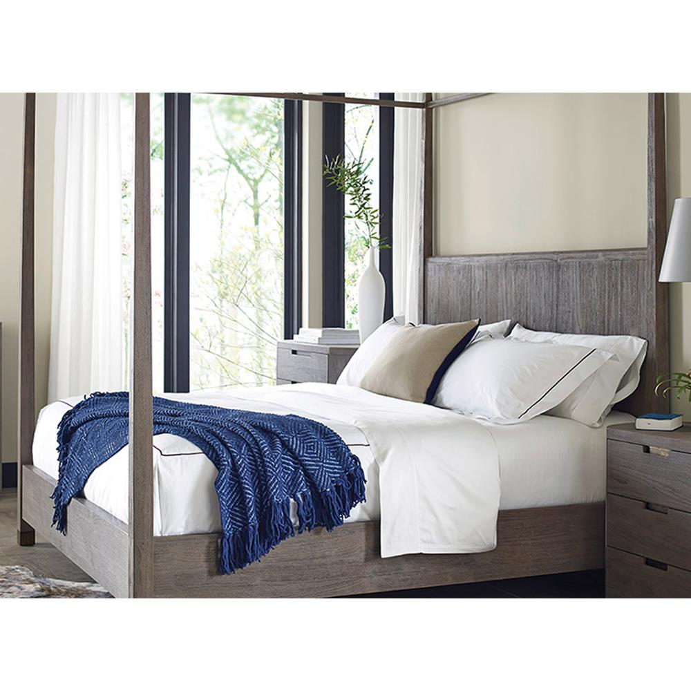view full size ...  sc 1 st  Kathy Kuo Home & Alba Rustic Coastal Sand Teak Canopy Bed - Queen | Kathy Kuo Home