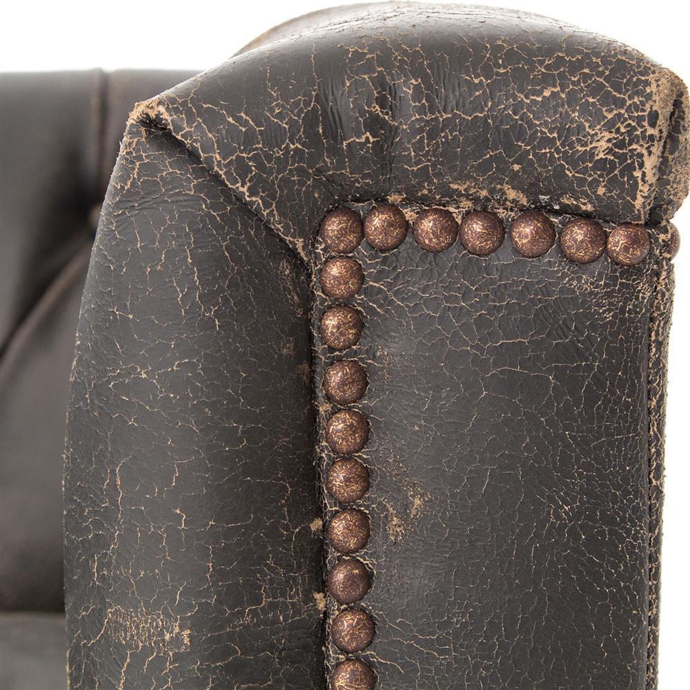 Karl Rustic Lodge Black Stud Tufted Leather Sofa | Kathy Kuo Home
