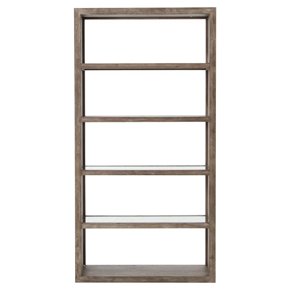 philip rustic hollow washed grey wood antique mirror bookcase. Black Bedroom Furniture Sets. Home Design Ideas