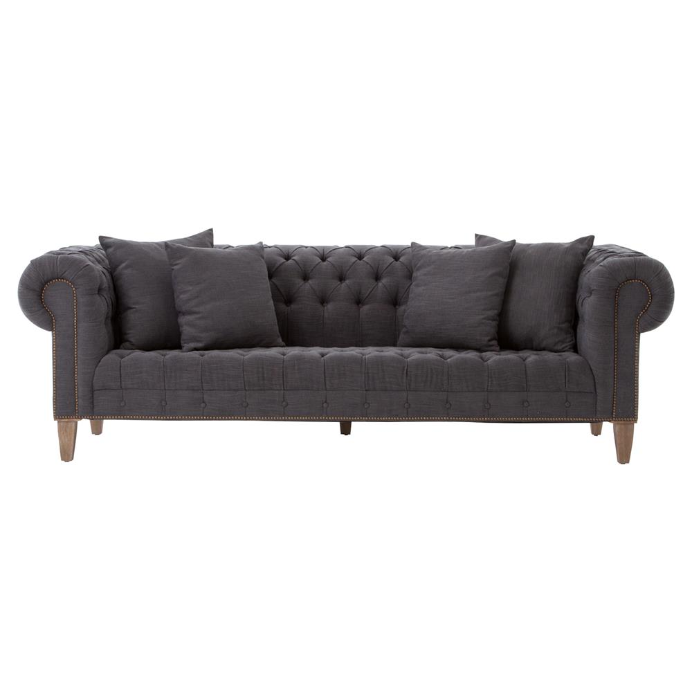foster modern classic dark grey tufted chesterfield style sofa. Black Bedroom Furniture Sets. Home Design Ideas