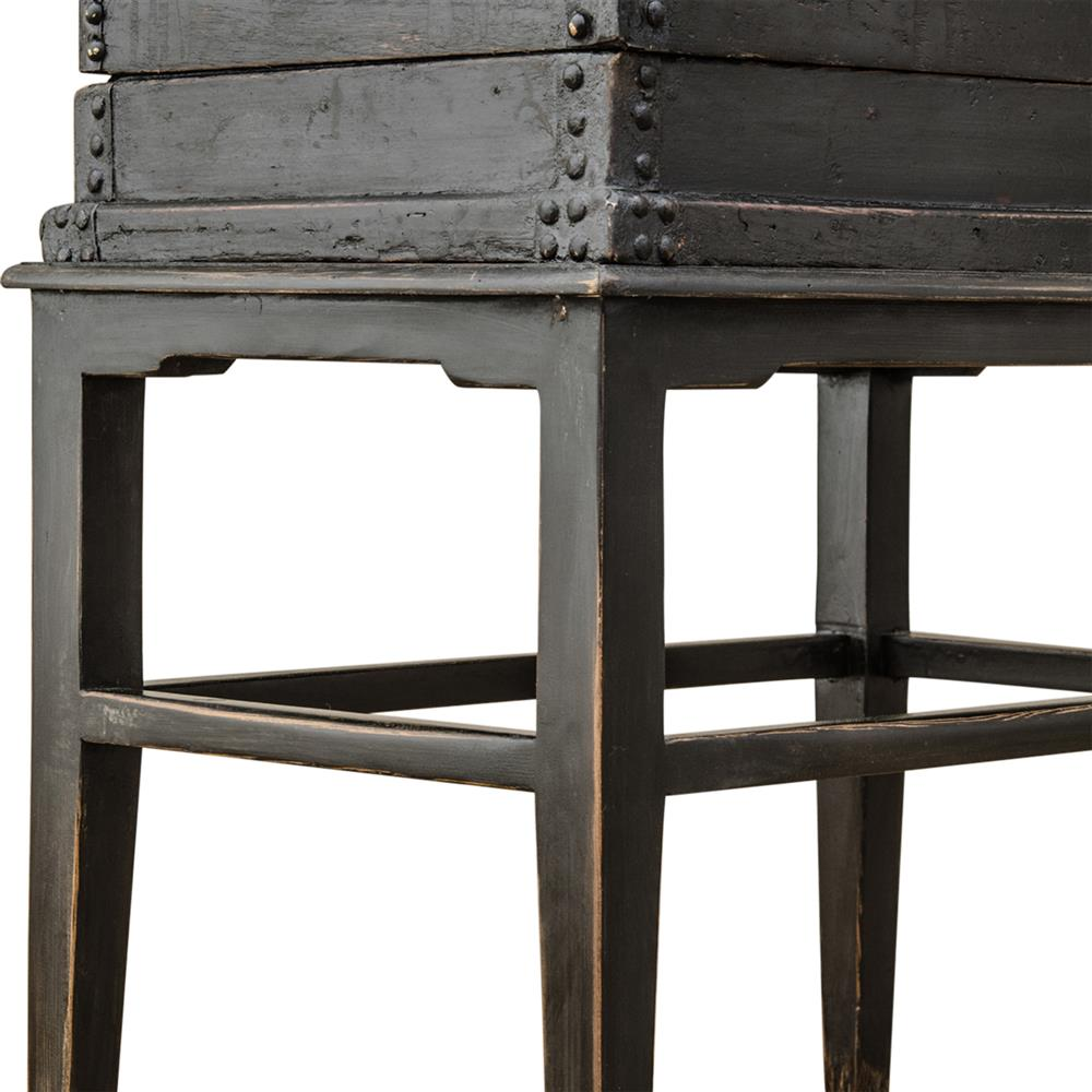 Richard rustic global vintage nailhead trim wood end table for Rustic wood accent tables
