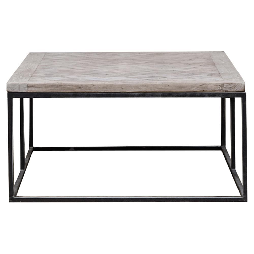 Moshe industrial metal frame basketweave wood top coffee table kathy kuo home Industrial metal coffee table