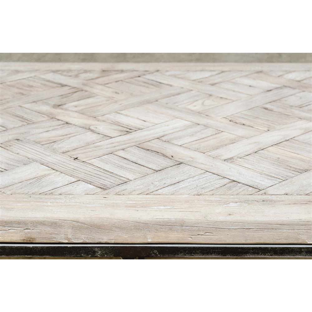 Tables Moshe Industrial Metal Frame Basketweave Wood Top Coffee Table