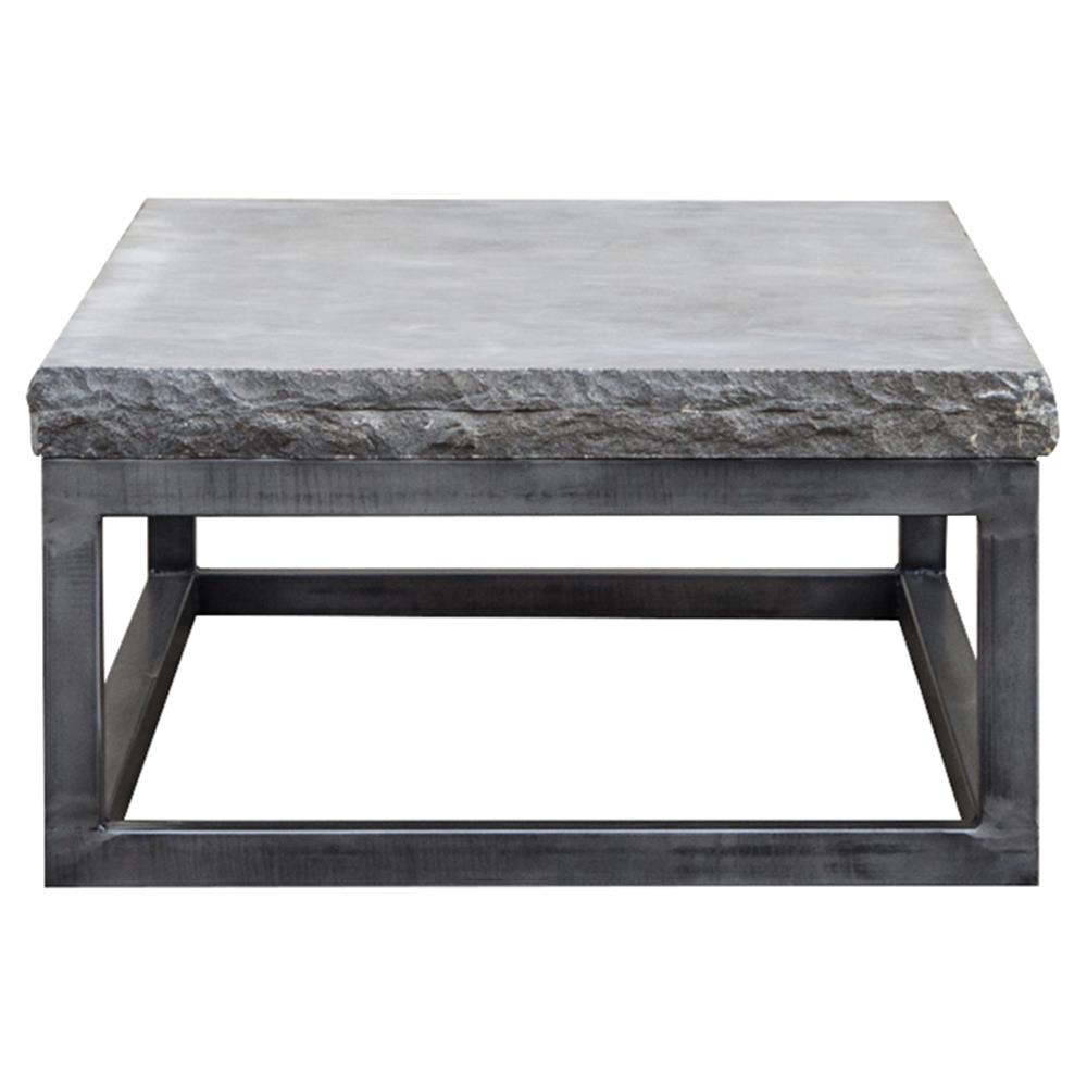 Siza Industrial Loft Grey Metal Frame Stone Top Coffee Table