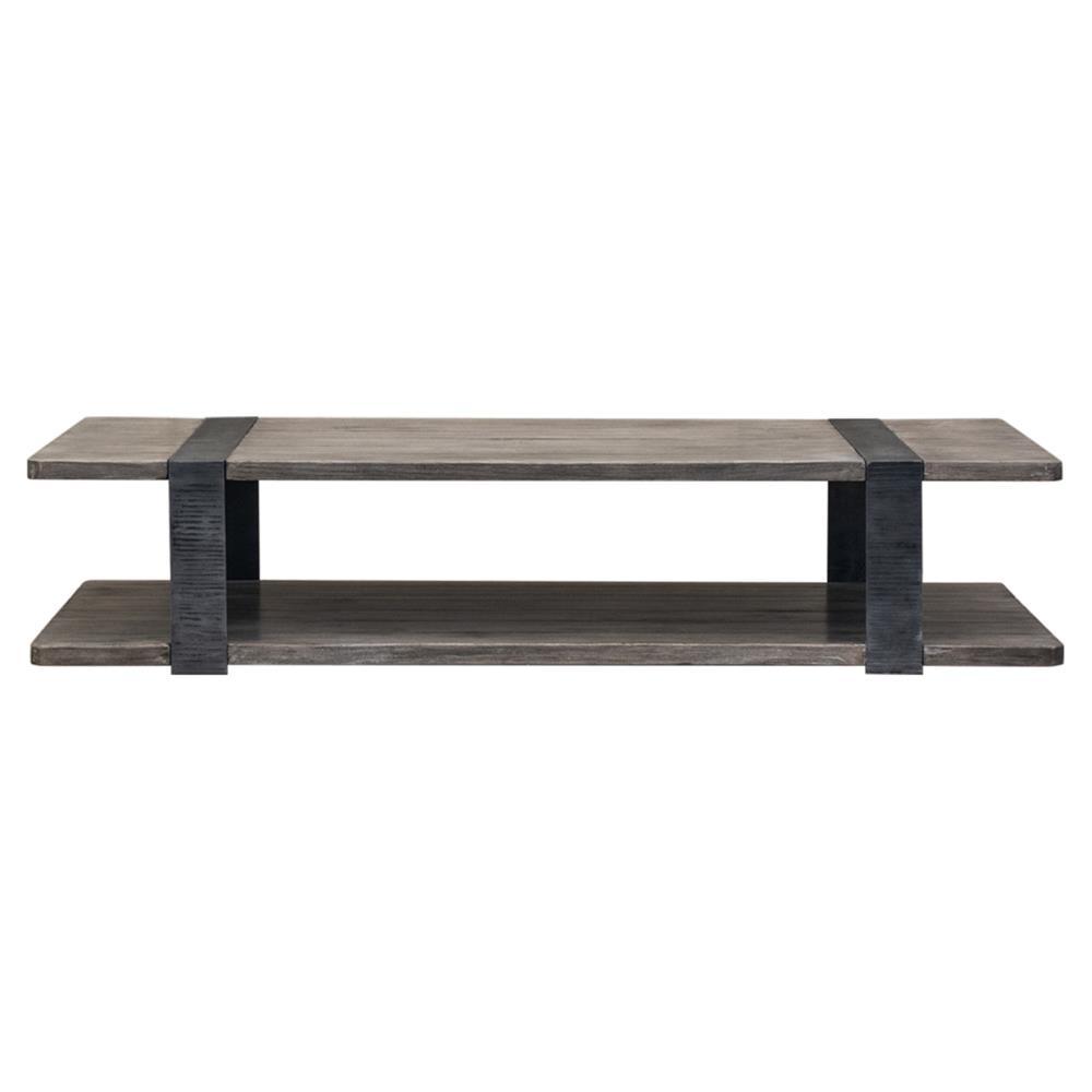 Gert Industrial Rustic Grey Brown Wood Slab Metal Coffee Table Kathy Kuo Home